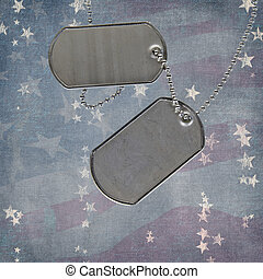 Holiday dog tags - Patriotic dog tags on faded flag...