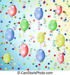 bright multicolored background with balloons, streamers and...
