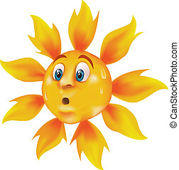 Sweating cartoon sun - Bright, vivid cartoon sun sweating...
