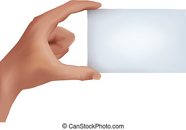 Hand with business card - A blank business card held between...