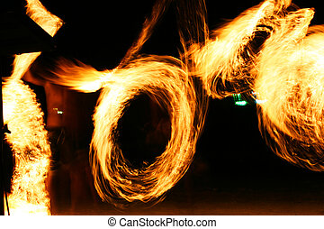 Fire-jugglers perform a show - Fire-jugglers perform a show...