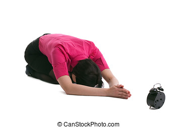 business woman lay in yoga pray for time isolated - young...
