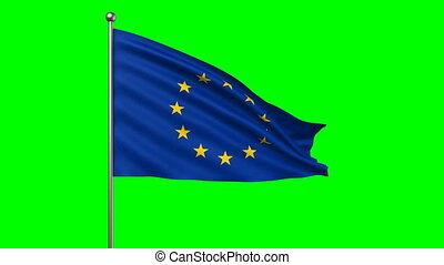 flag of European Union, loop-able 3d animation
