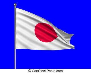 flag of Japan loop-able 3d animation