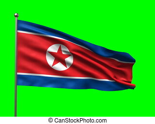 flag of Korean Democratic Peoples Republic loop-able 3d...