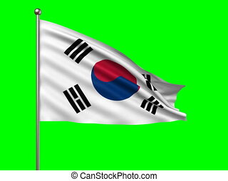 flag of South Korea loop-able 3d animation