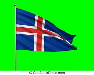 flag of Iceland loop-able 3d animation
