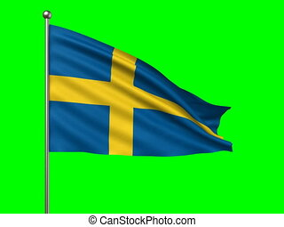 flag of Sweden -  flag of Sweden loop-able 3d animation
