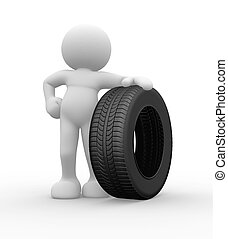 Car tire - 3d people icon with car tire - This is a 3d...