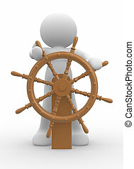 Steersman - 3d people icon at the helm - This is a 3d render...