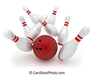 Bowling ball crashing into the pins - 3d render illustration...
