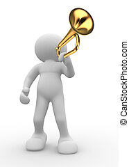 Trumpet - 3d people icon playing trumpet- This a 3d render...