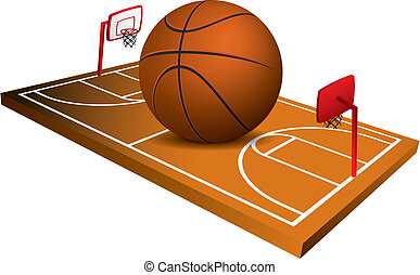 3d Basketball field vector