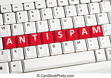 Antispam word on keyboard - Antispam word on white keyboard