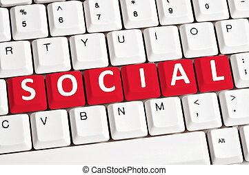 Social word on keyboard