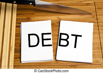 Knife cut paper with debt