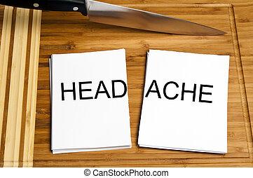 Knife cut paper with headache