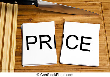 Knife cut paper with price