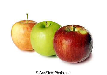 Three colorful apples on white