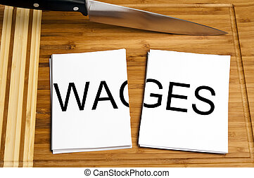 Knife cut paper with wages