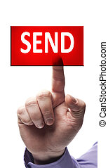 Send button pressed by male hand