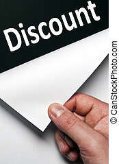 Discount word discovered by male hand