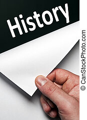 History word discovered by male hand