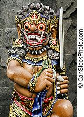 statue in temple bali indonesia - statue in temple in bali...