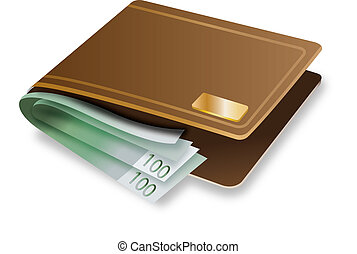 Wallet vector - Brown Wallet with money vector
