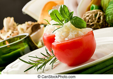 Stuffed Tomatoes with rice - photo of delicious stuffed...