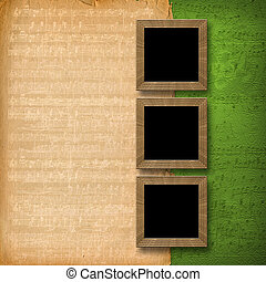grunge wooden frames on the abstract musical background