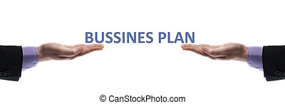 Business plan message in male hands