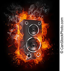 Acoustic Loudspeaker - Loudspeaker in Fire Isolated on Black...