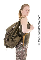 Backpacker A Young Woman - Backpacker a young woman isolated...