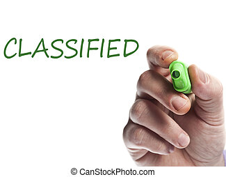 Classified - Hand write with green marker Classified