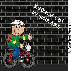 CO2 emissions - Cartoon cyclist and reduce CO2 emissions...