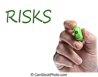 Risks - Hand write with green marker risks