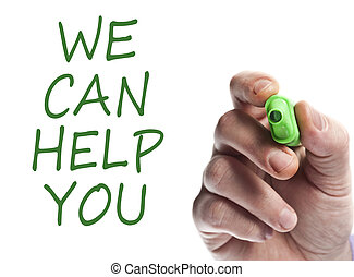 We can help you - Hand write with green marker We can help...