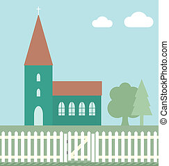 Church with white picket fence and gate