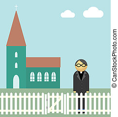 Vicar or priest standing outside his church