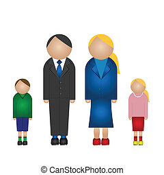 Family unit consisting of father mother son and daughter