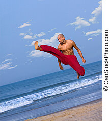 Flying Kick Textured Background with Text Space