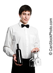 Waiter sommelier with wine bottle and stemware