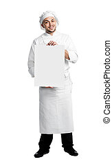 chef with poster board isolated