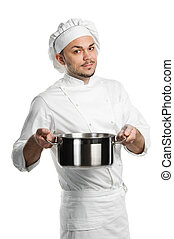 chef with metal kitchen pan isolated