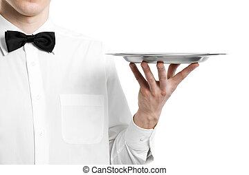 Garçom, mão, metal, prato