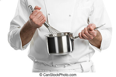 chef hands with whisk and pan isolated - professional chef...