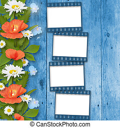 Card for invitation or congratulation with bouquet of flowers