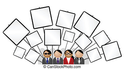 placards blank - Crowd protesting with placards blank for...
