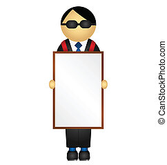 advertising sandwich board - Business man holding...